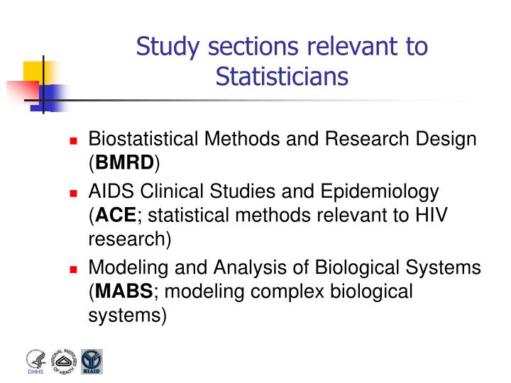 Study sections relevant to Statisticians