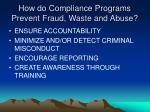 how do compliance programs prevent fraud waste and abuse