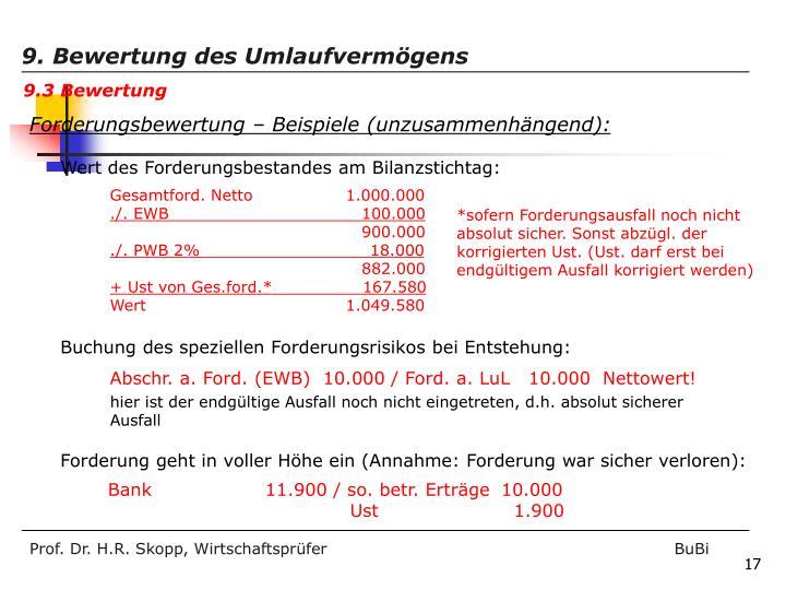 Abschr. a. Ford. (EWB)  10.000 / Ford. a. LuL   10.000  Nettowert!