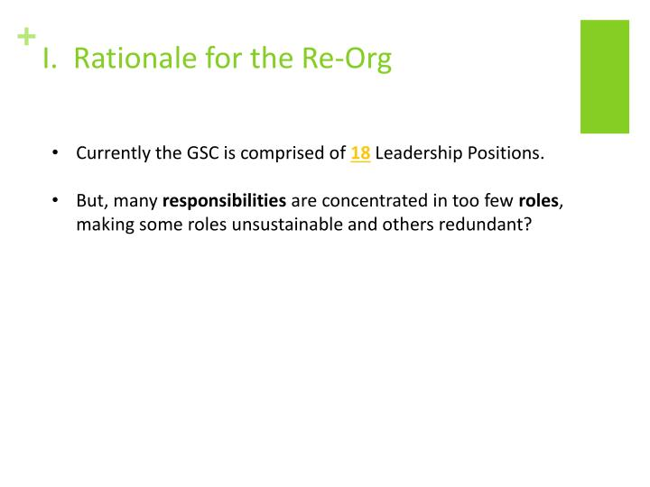 I.  Rationale for the Re-Org