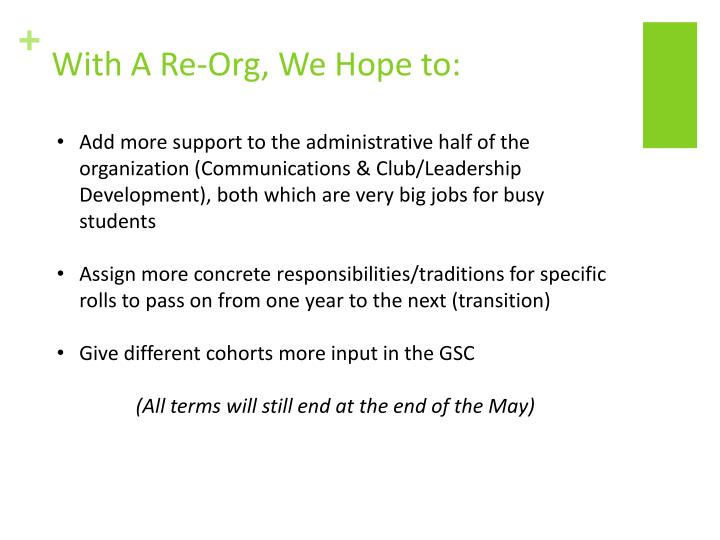 With A Re-Org, We Hope to: