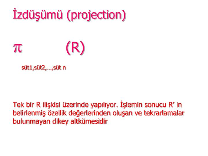 İzdüşümü (projection)