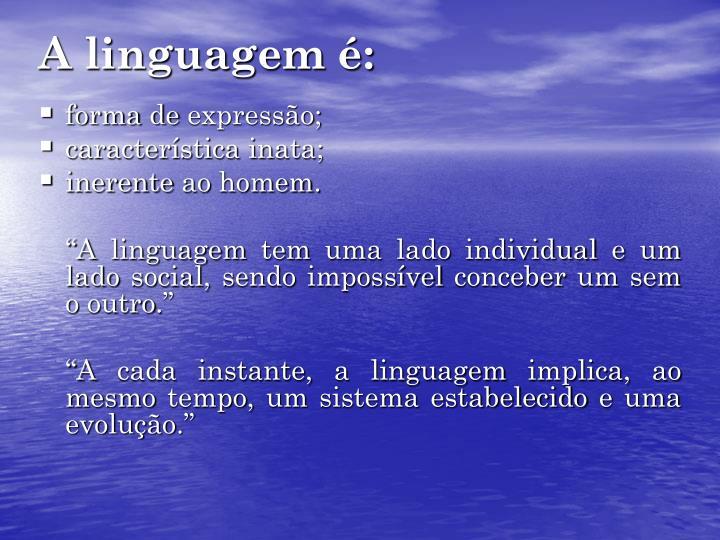 A linguagem é: