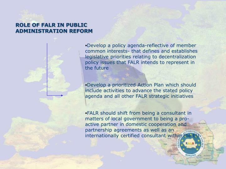 ROLE OF FALR IN PUBLIC ADMINISTRATION REFORM