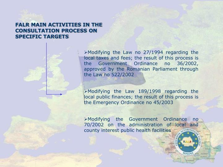 FALR MAIN ACTIVITIES IN THE CONSULTATION PROCESS ON SPECIFIC TARGETS