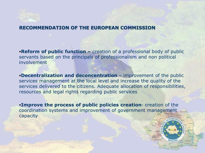 RECOMMENDATION OF THE EUROPEAN COMMISSION