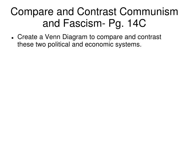 Compare and Contrast Communism and Fascism- Pg. 14C