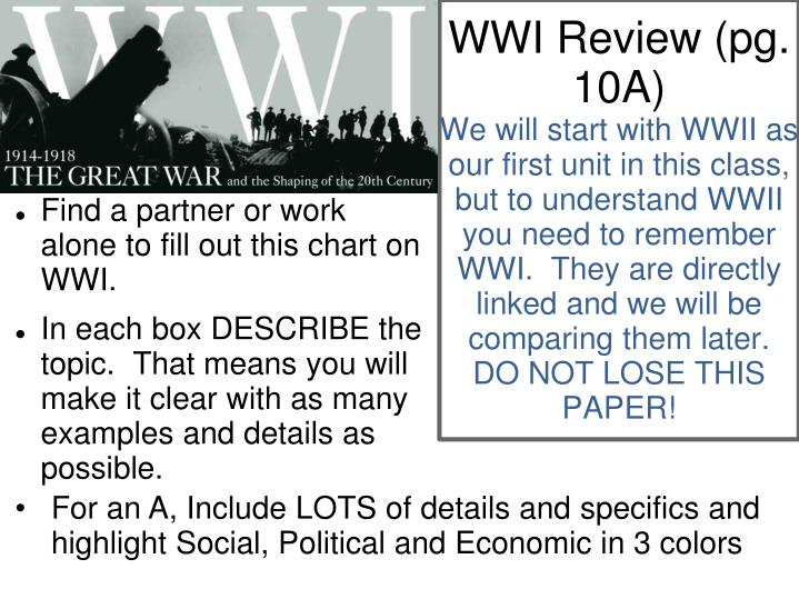 WWI Review (pg. 10A)