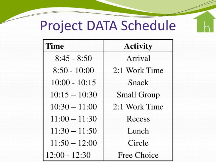 Project DATA Schedule