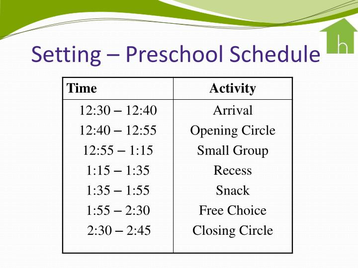Setting – Preschool Schedule