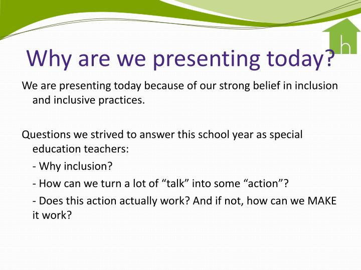 Why are we presenting today?