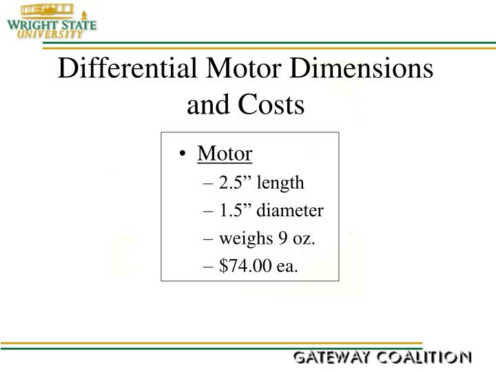 Differential Motor Dimensions and Costs