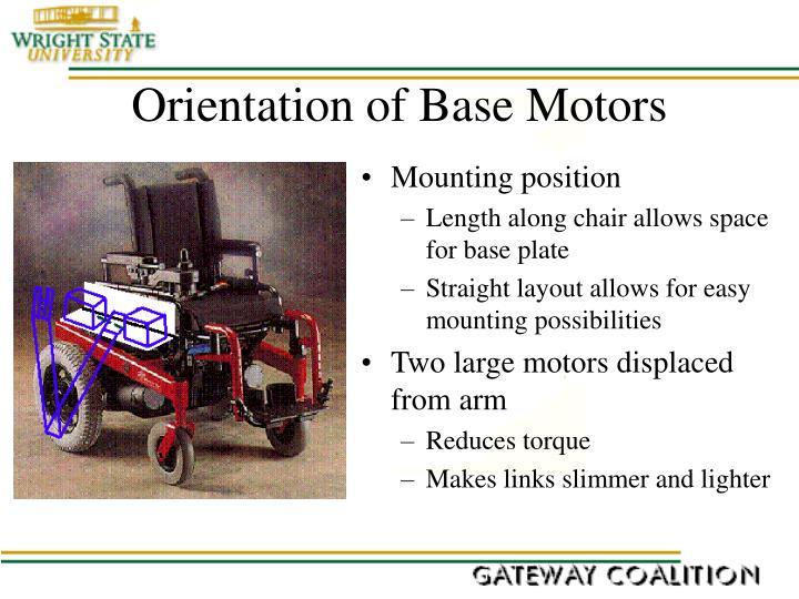 Orientation of Base Motors
