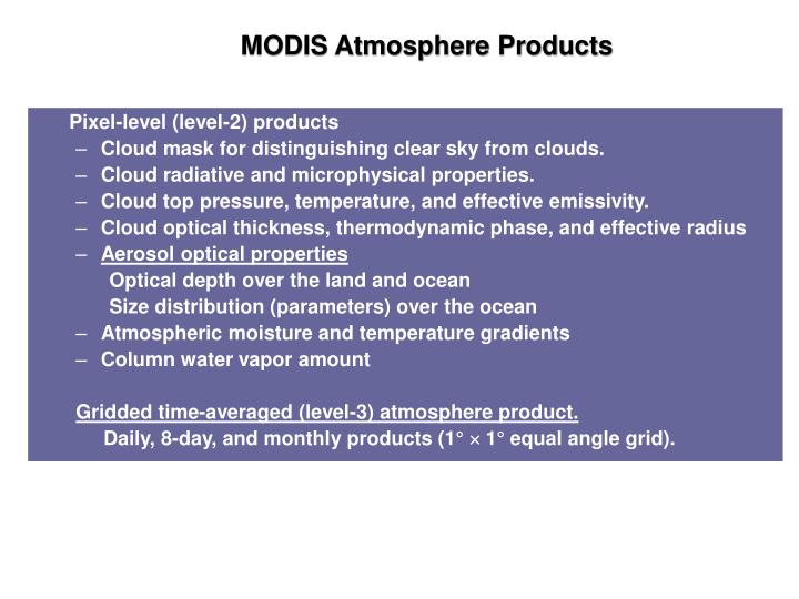 MODIS Atmosphere Products
