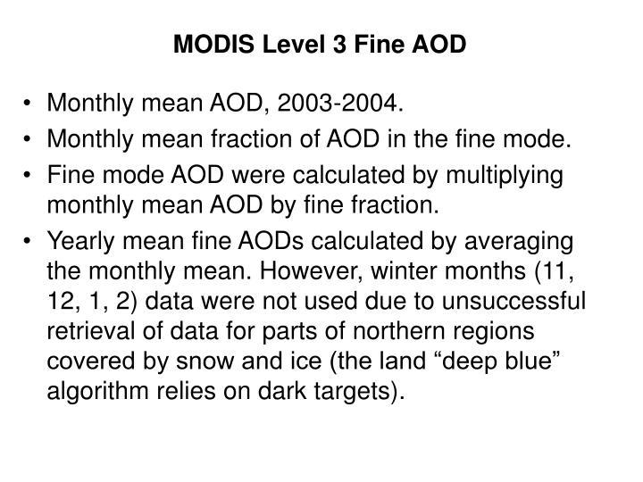 MODIS Level 3 Fine AOD