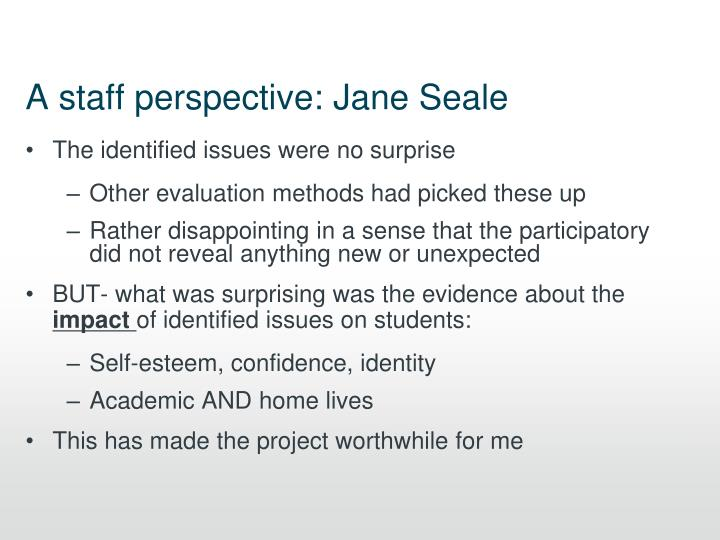 A staff perspective: Jane Seale