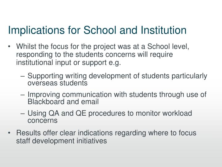 Implications for School and Institution