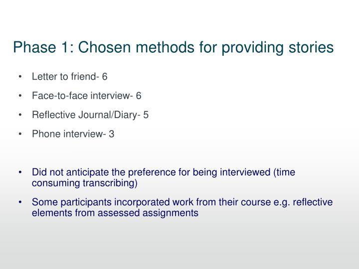 Phase 1: Chosen methods for providing stories