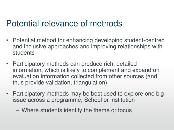 Potential relevance of methods
