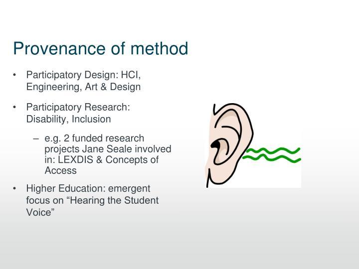 Provenance of method