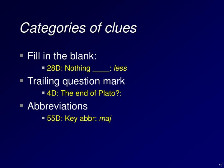 Categories of clues