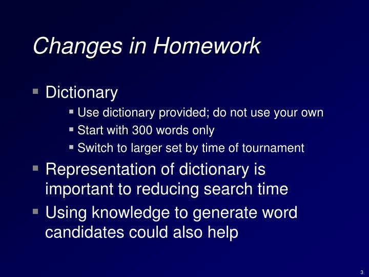 Changes in homework1