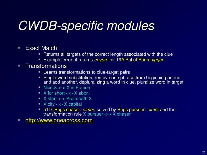CWDB-specific modules