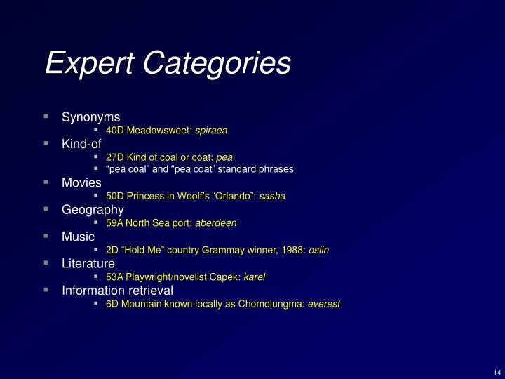 Expert Categories