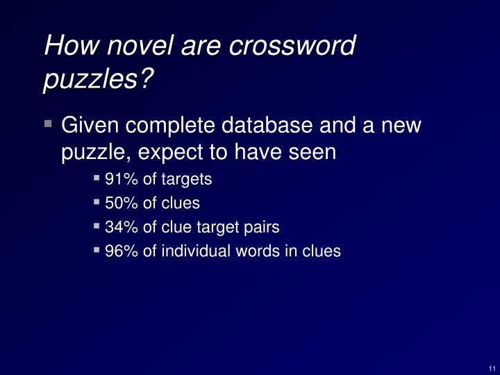How novel are crossword puzzles?