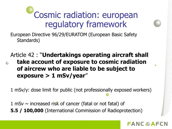 Cosmic radiation: european regulatory framework