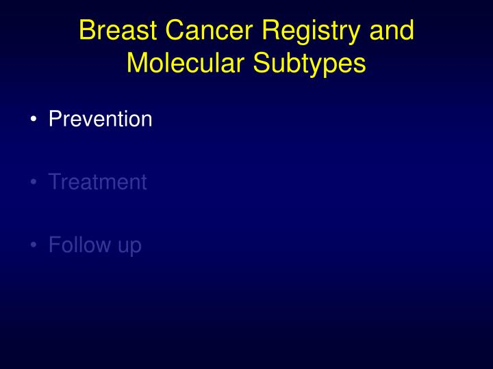 Breast Cancer Registry and Molecular Subtypes