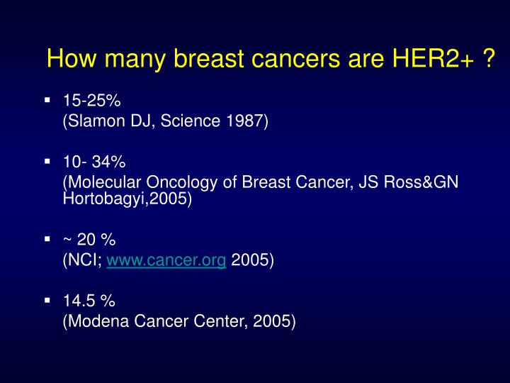 How many breast cancers are HER2+ ?