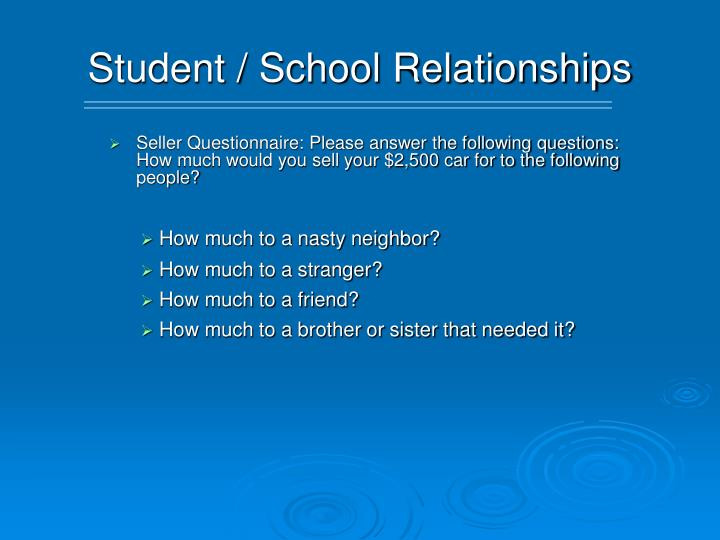 Student / School Relationships