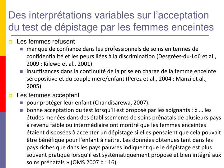 Des interprétations variables sur l'acceptation du test de dépistage par les femmes enceintes