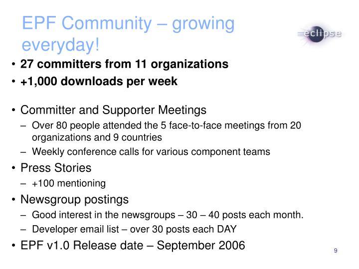 EPF Community – growing everyday!