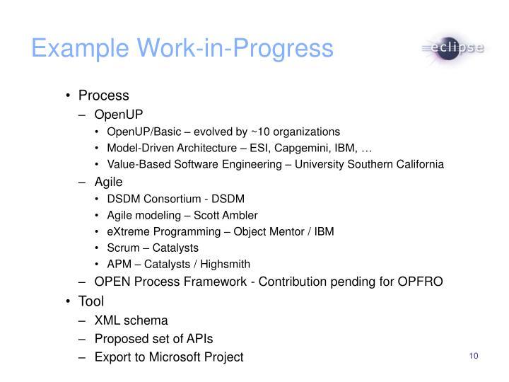 Example Work-in-Progress