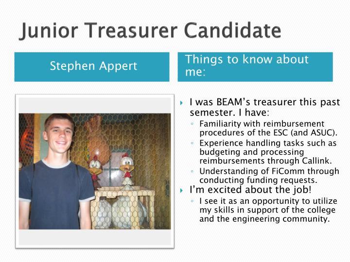 Junior Treasurer Candidate