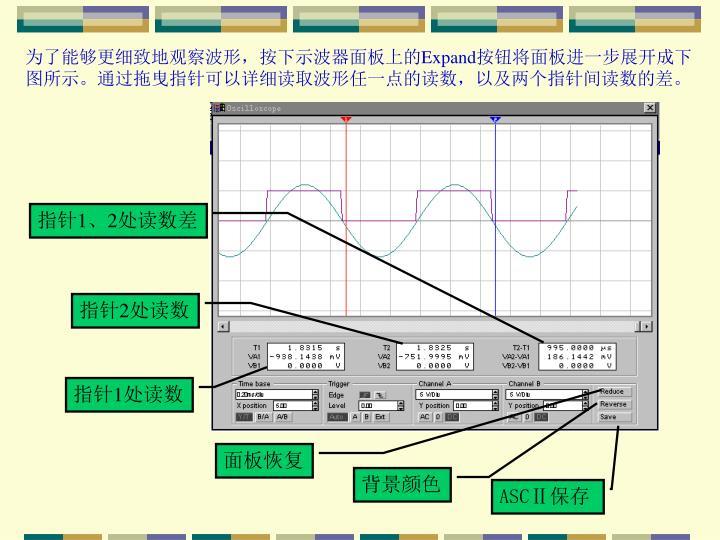 为了能够更细致地观察波形,按下示波器面板上的