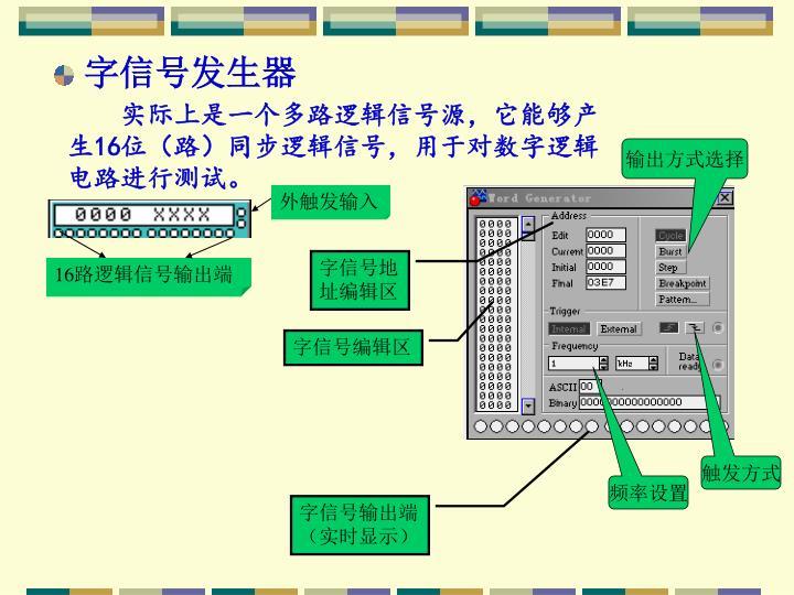 实际上是一个多路逻辑信号源,它能够产生16位(路)同步逻辑信号,用于对数字逻辑电路进行测试。