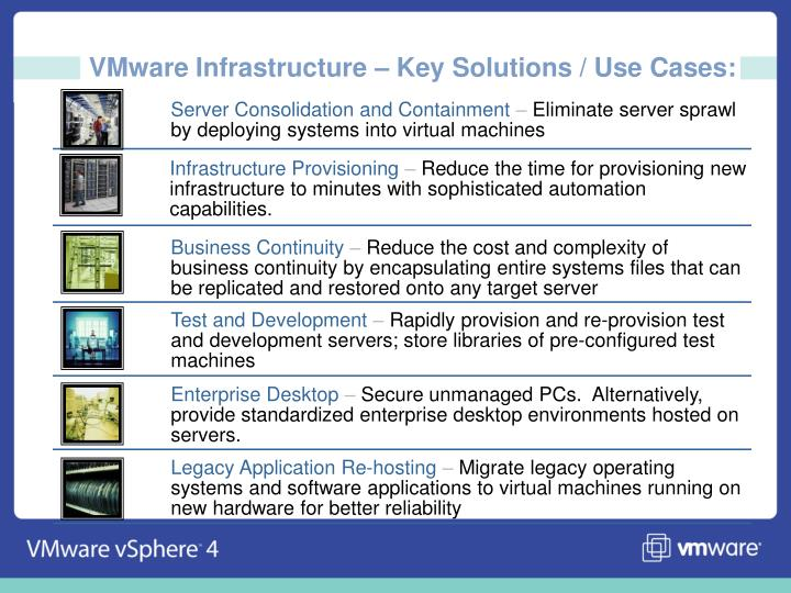 VMware Infrastructure – Key Solutions / Use Cases: