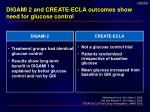 digami 2 and create ecla outcomes show need for glucose control
