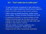 e f can t walk due to ankle pain