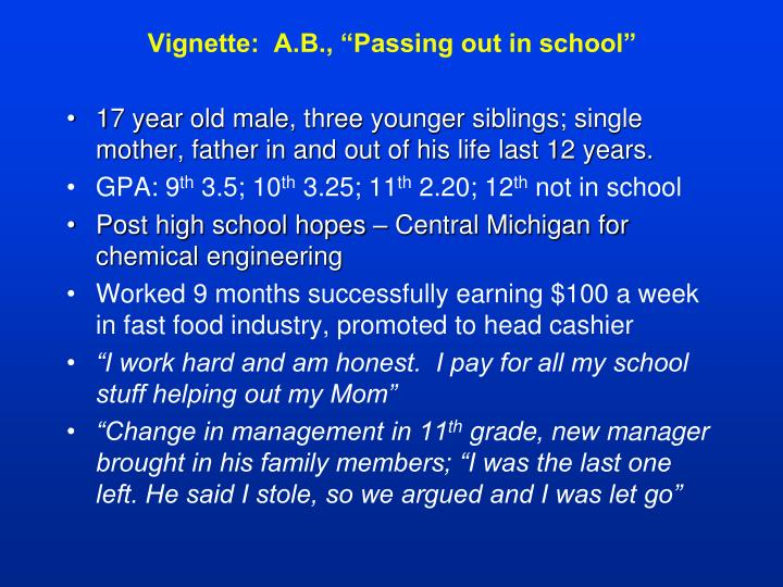 "Vignette:  A.B., ""Passing out in school"""