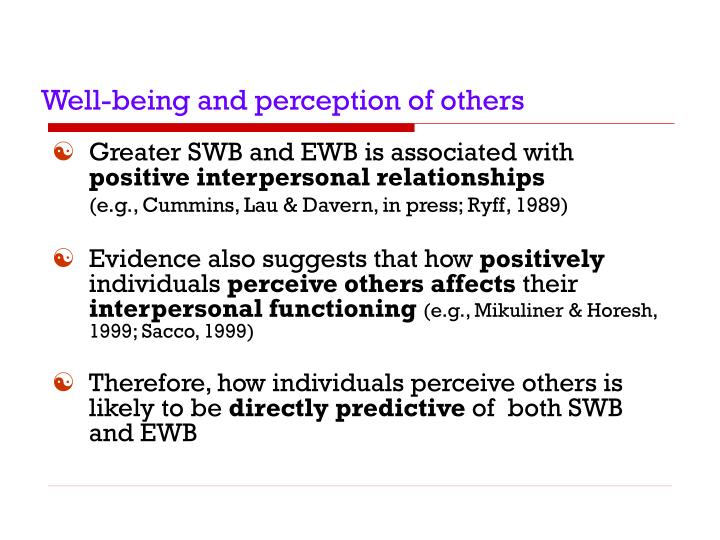 Well-being and perception of others
