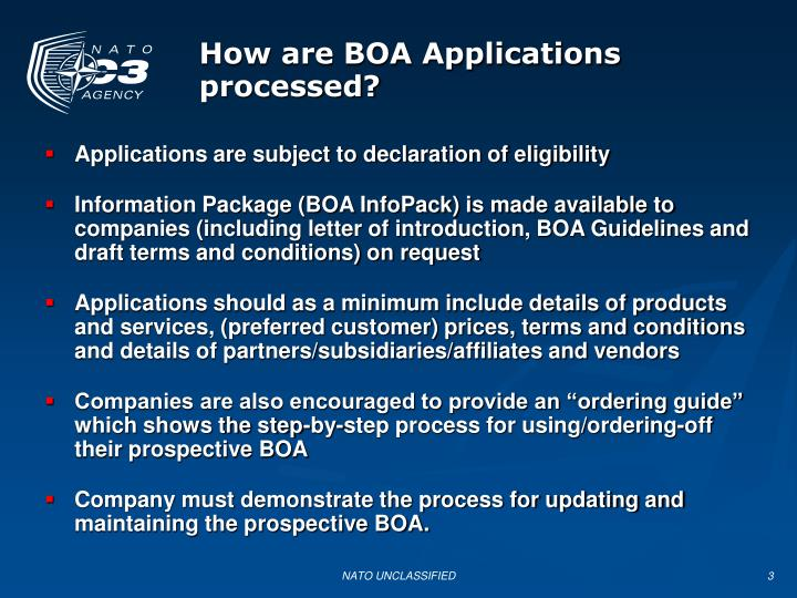 How are boa applications processed