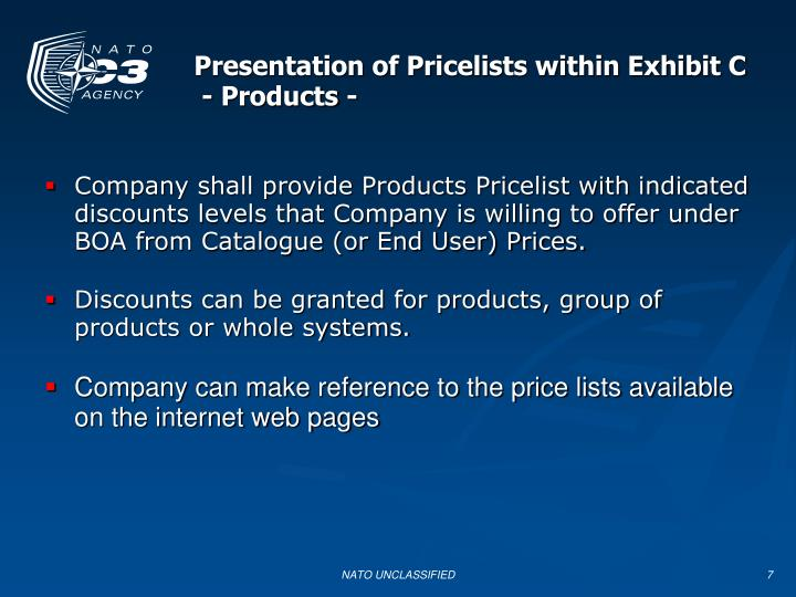 Presentation of Pricelists within Exhibit C
