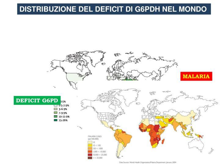 DISTRIBUZIONE DEL DEFICIT DI G6PDH NEL MONDO