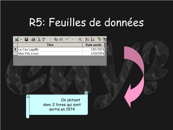 R5: Feuilles de données