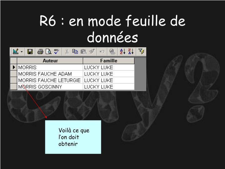 R6 : en mode feuille de données
