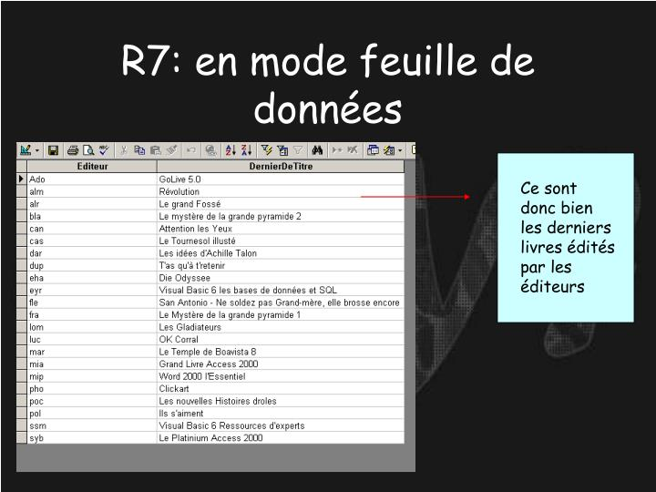 R7: en mode feuille de données